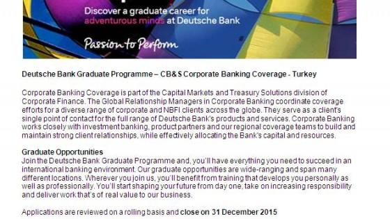 Deutsche Bank Graduate Programme 2